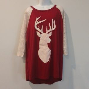 Southern Grace XL lace deer shirt